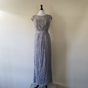 Jasmine Grey Lace Cap Sleeve Gown 12 (NWOT)